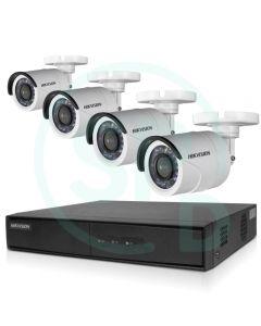 Kit de Videovigilancia Hikvision, DVR 4 Canales, 4 Cámaras Bullet IP66 + 4 Rollos BNC + Disco 1TB