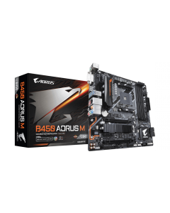 Placa Madre Gigabyte - B450 AORUS M - Micro ATX - Socket AM4 - AMD B450 - para A series
