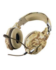 Audifono Gamer Trust GXT 322D Carus, Desert Camo, Micrófono flexible y banda de la cabeza ajustable
