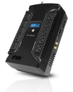 UPS Forza HT-1002LCD-C, (Interactiva, 500 W/1000 VA - AC 220 V - 12 Out, USB, Onda senoidal simulada)