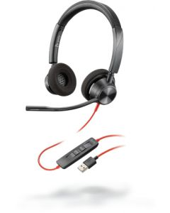 Auriculares Poly Blackwire 3320, Wired, Compatible con Microsoft Teams, USB-A, Negro