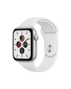 Apple Watch SE GPS, 44 mm, caja de aluminio plateado, correa deportiva blanca