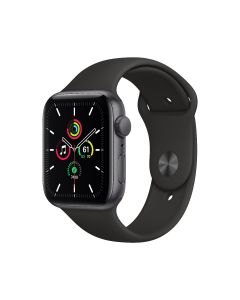 Apple Watch SE GPS, 44 mm, caja de aluminio gris espacial, correa deportiva negra