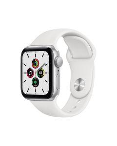 Apple Watch SE GPS, 40 mm, caja de aluminio plateado, correa deportiva blanca