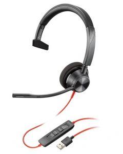 Auriculares Poly Blackwire 3310 USB-C, Monoaural, para Conferencias