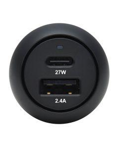 Cargador para Automóvil USB 2 Puertos Carga PD 39W, USB-C y USB-A, Negro
