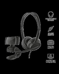 Trust Webcam + Auricular Usb Home Office Set 24036