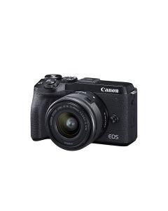 Cámara digital sin espejo Canon EOS M6 Mark II con lente de 15-45 mm y visor EVF-DC2 (negro)