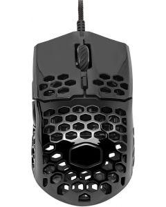 Mouse para juegos negro con carcasa de nido de abeja, cable Ultraweave
