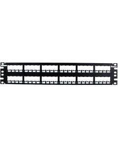 Panel de conexión Mini-Com®, 48 puertos, 2 RU, negro