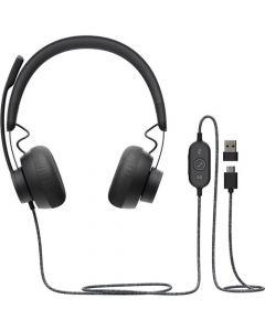 Audífono Logitech Zone Wired USB-C, USB-A, micrófono con supresión de ruido