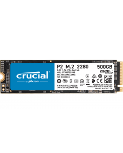 Disco SSD 500GB Crucial P2 500GB PCIe NVMe Gen 3, Lectura 2.300MB/s, Escritura 940MB/s