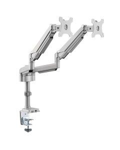 """Soporte de Brazo Flexible para Dos Pantallas- Monitores de 13"""" a 34"""" - Orificio pasacables, USB"""