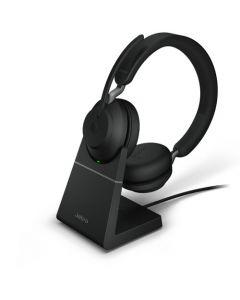 Diadema Jabra Evolve2 65 UC, Estéreo, Bluetooth 5.0, USB, Con base de carga, Color negro