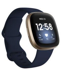 Reloj inteligente con GPS Fitbit Versa 3 (medianoche / aluminio dorado suave)