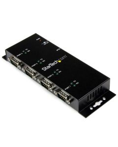 Hub Concentrador Adaptador USB a Serial RS232 DB9 4 Puertos – Riel DIN Industrial Montaje en Pared