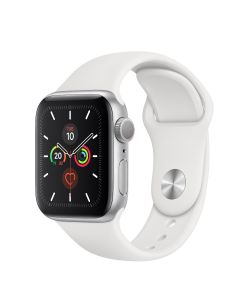 Apple Watch S5 GPS, 40 mm Aluminium case Silver - Correa deportiva blanca