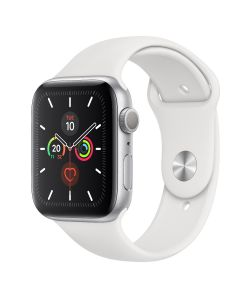Apple Watch S5 GPS, 44 mm Aluminium case Silver - Correa deportiva blanca