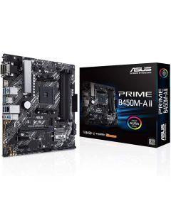 Placa Madre ASUS PRIME B450M-A II (AM4-v2, DDR4 3200MHz, RAID, M.2, RGB, Micro-ATX)