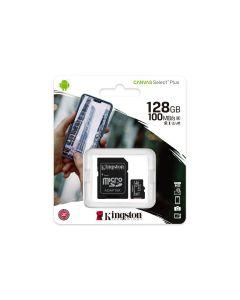 Kingston Canvas Select Plus - Tarjeta de memoria flash (adaptador microSDXC a SD Incluido) - 128 GB - A1 / Video Class V10 / UHS Class 1 / Class10 - microSDXC UHS-I