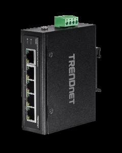 TRENDnet TI-E50 - Conmutador - sin gestionar - 5 x 10/100 - montaje en riel DIN, montaje en pared - alimentación cc