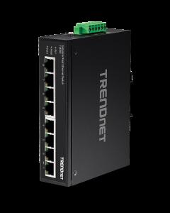 TRENDnet TI-E80 - Conmutador - sin gestionar - 8 x 10/100 - montaje en riel DIN, montaje en pared - alimentación cc