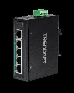 TRENDnet TI-PE50 - Conmutador - sin gestionar - 4 x 10/100 (PoE+) + 1 x 10/100 - montaje en riel DIN, montaje en pared - PoE+ (90 W) - alimentación cc