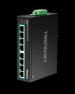 TRENDnet TI-PE80 - Industrial - conmutador - 8 x 10/100 (PoE+) - montaje en riel DIN, montaje en pared - PoE+ (200 W) - alimentación cc