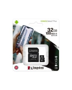 Kingston Canvas Select Plus - Tarjeta de memoria flash (adaptador microSDHC a SD Incluido) - 32 GB - A1 / Video Class V10 / UHS Class 1 / Class10 - microSDHC UHS-I